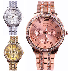Wholesale Vogue Diamond Watch Fashion Geneva Quartz gold Man Wrist Watch