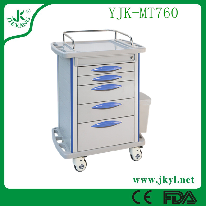 YJK-MT760 First aid used medical drug delivery cart with 5 drawers for hot sale.