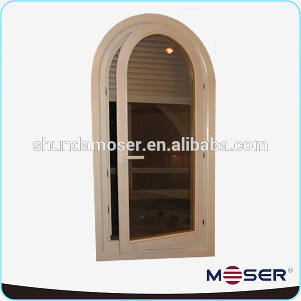 Oak wood profil special shape half round circle window in grill design
