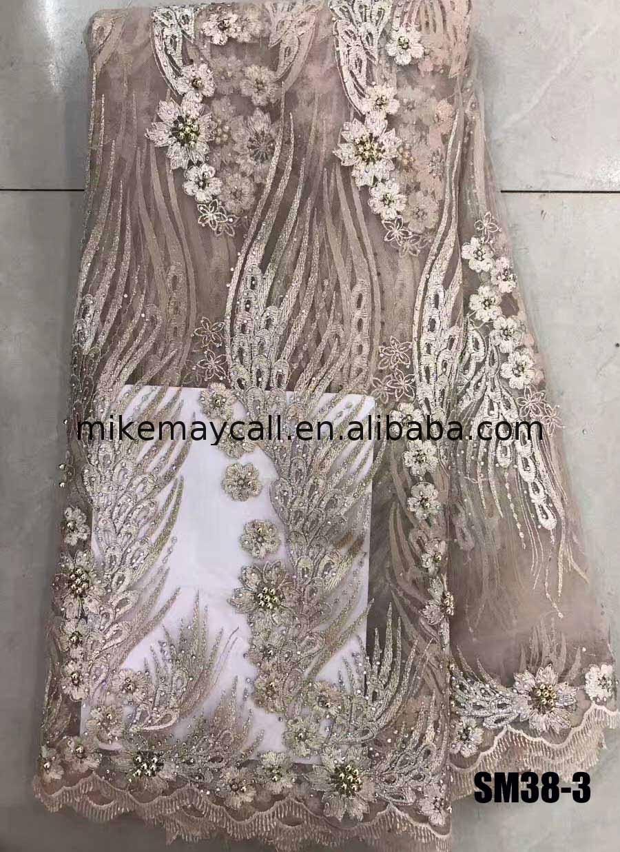 Ivory beaded luxury 3D organza lace fabric with pearls for party and wedding