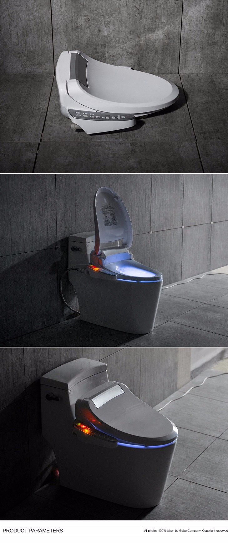 Elongated Electronic Blue LED Toilet Seats For Smart Toilet