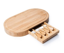 Elegent Square Bamboo Cheese Cutting Board & Cutlery Set with Slide-Out Drawer