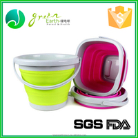 Food grade Colorful 10L folding barrel, plastic water bucket