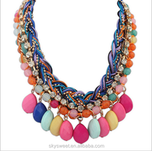 2015 retro big multi-layer Bohemian braided necklace jewelry wholesale ,Large Bead Necklace(SWTPR546)