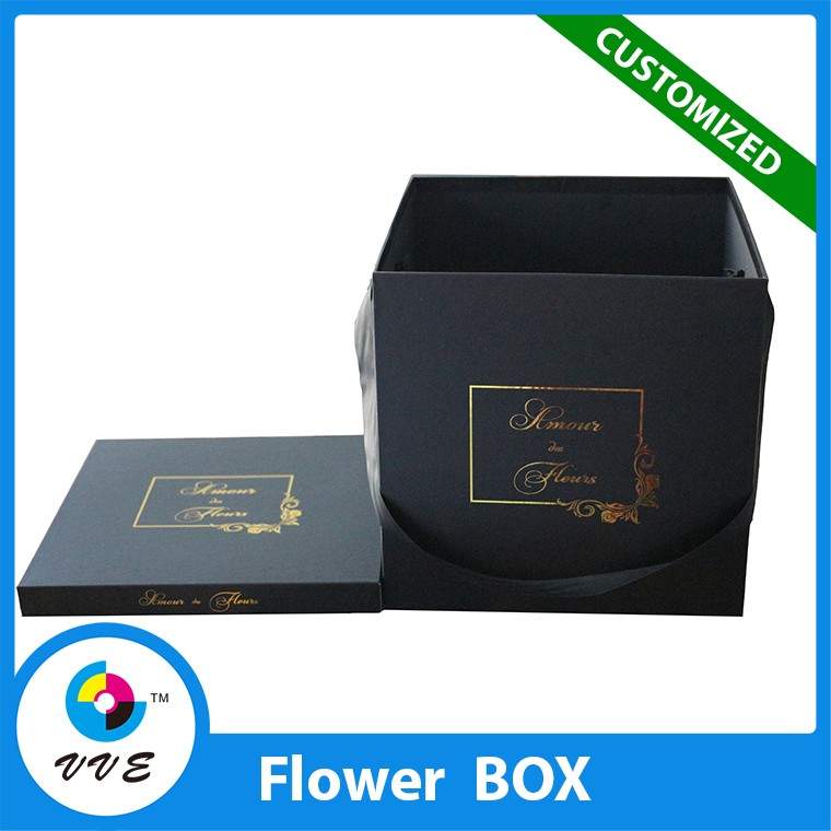Popular black waterproof square flower box with lid,paper cardboard square flower box luxury