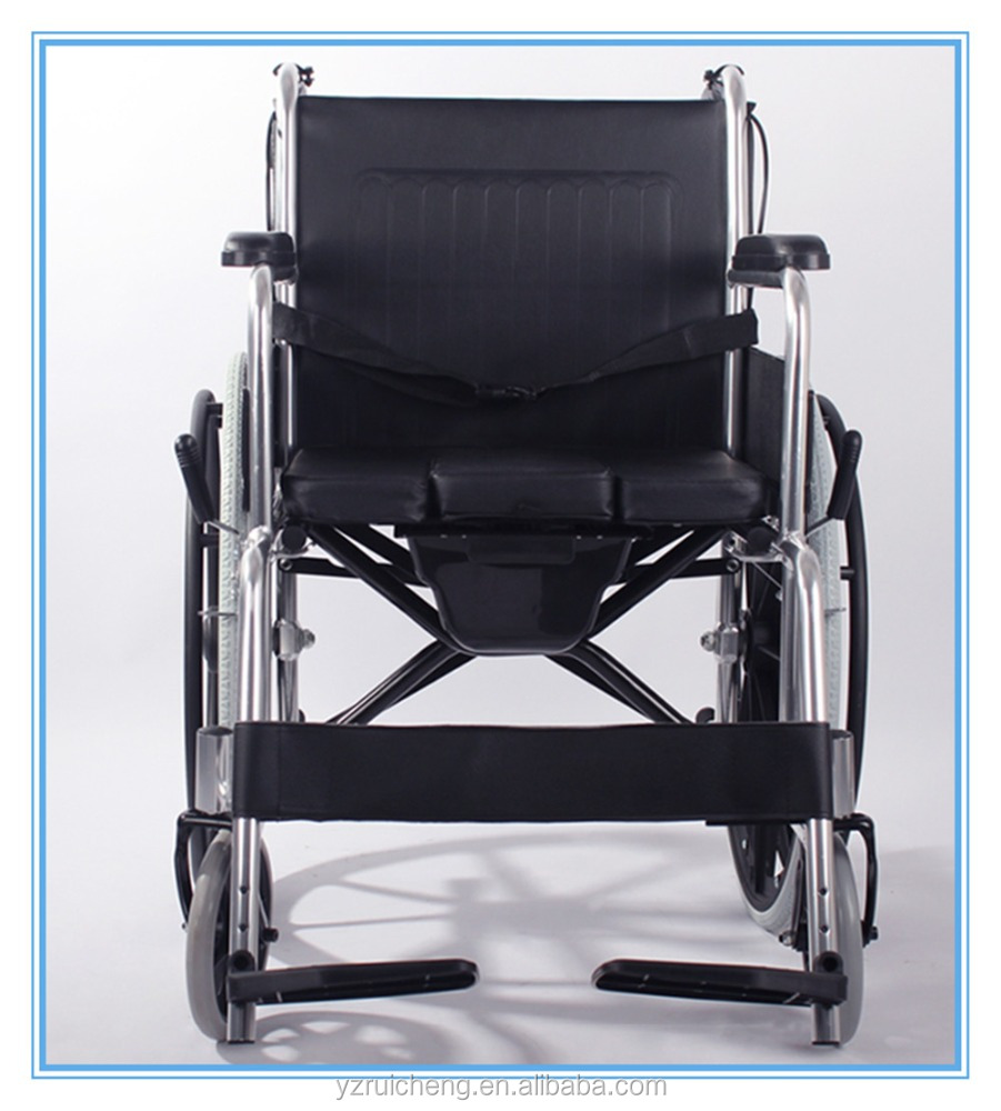 Medline Easy-to-Clean and Durable Self Folding Wheelchair with Footrests Solid Castors and Toilet