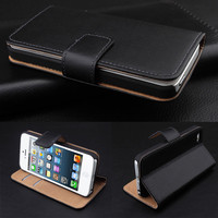 Top quality luxury real leather flip folio phone cover stand genuine leather wallet case for iPhone 6 Plus with card holders