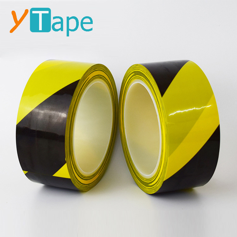 2 inch x 33 Meter Black and Yellow Self Adhesive Floor Warehouse Safety Strong PVC Hazard Warning Tape <strong>Roll</strong> 50mm Wide