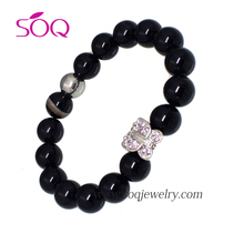 SSG419040 Unisex Fashion black cat eye bracelets fashion jewelry 2016 with crystal butterfly charm