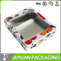 2015 NEW tin box colored tin box with pvc top lid can be custom design
