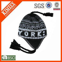 wholesale earflap beanie knitting patterns hat with braids