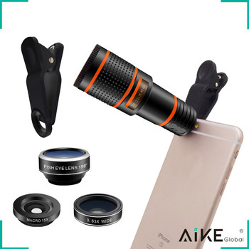 Universal Clip-on Optical HD 12X Telescope Zoom Lens Kit Phone Camera Lens for Mobile Phone