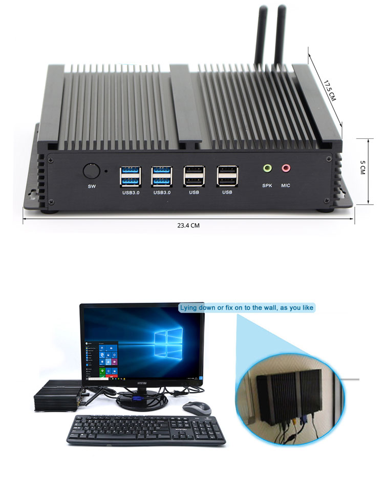 RS485 minicomputer fanless industrial computer pc 2 ethernet nic lan
