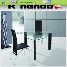 Home furniture triangle glass top pvc legs dining table with chairs