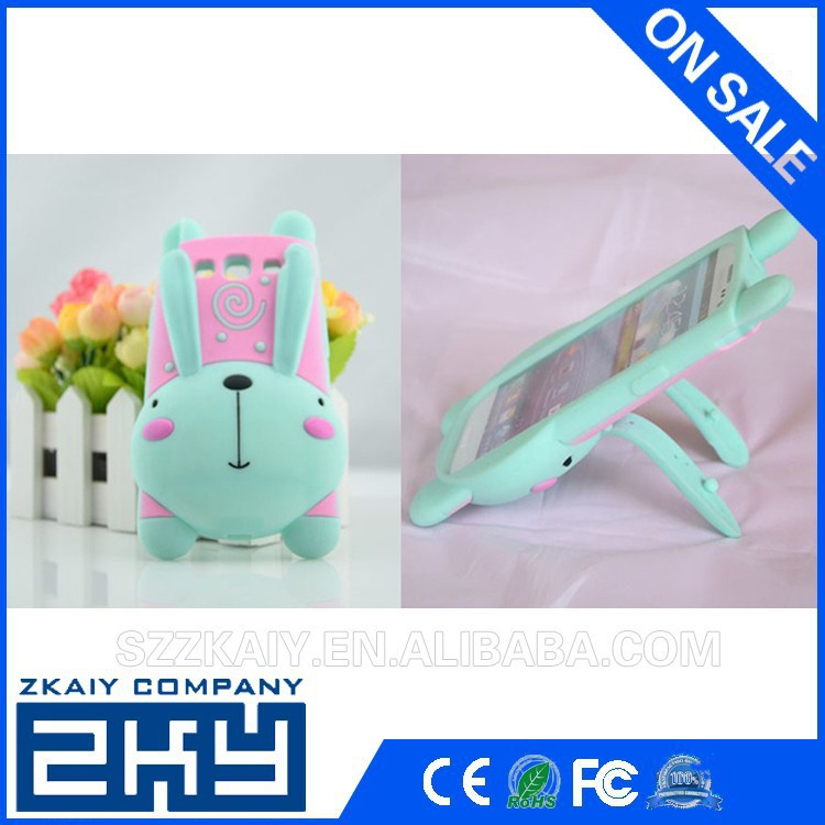 Funny rabbit shape silicone case for samsung galaxy s4 mini