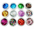 12 dazzling colors/set 1mm/2mm round sequins Nail Art deoration