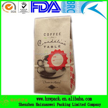 250g 500g flat bottom quad seal kraft paper foil lined coffee packaging bag