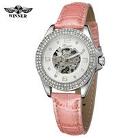 New Arrive T-winner Colorful Clear Stone Fancy Luxury Ladies OEM Brand Skeleton Mechanical Automatic Wrist Watch For Women
