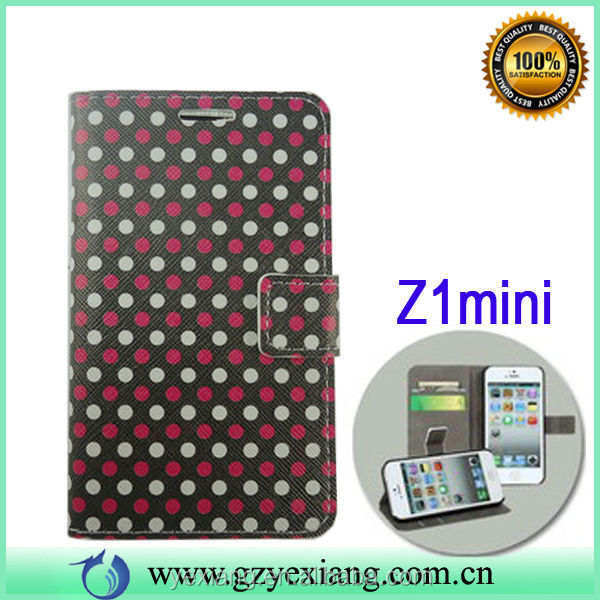 Mobile Cell Phone Wallet Case PU Leather Cover Flip Cases Stand for Sony Z1Mini