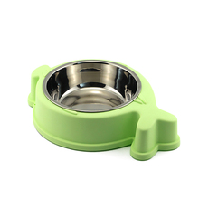 Low price of stainless steel&ABS white decorative cat pet feeder bowl