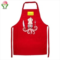newest hot sell fashion promotional cheap red printing polycotton red boby apron drawing apron cooking apron