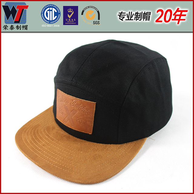 High Quality Fashion Cowboy Cap Handmade Black Men Sport Hats 5 Panel Snapback