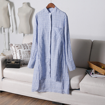 Linen latest blouse blue plaid shirt women long sleeve short front back long dress frock suits for women