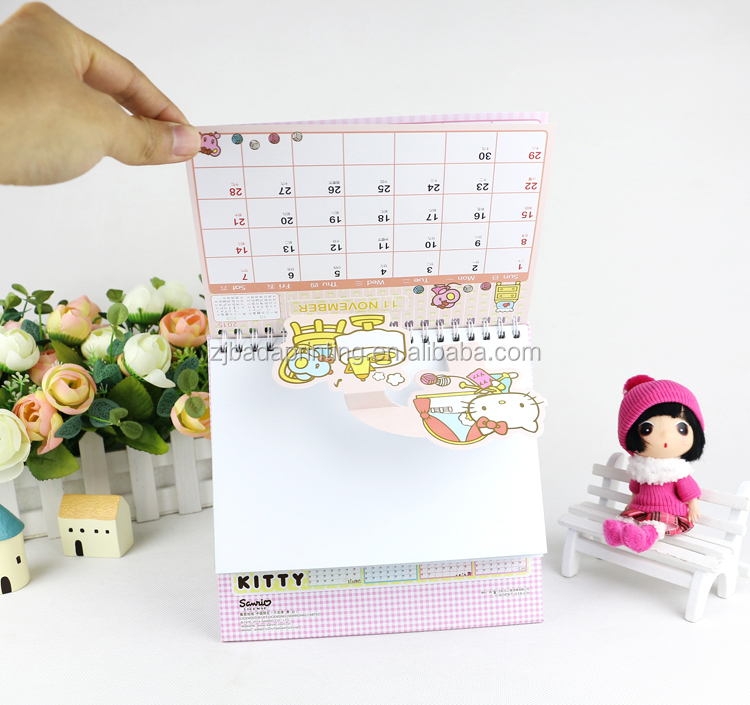 China Lovely Kitty Desk Calendar Printed /2016 Custom Design Desk Calendar