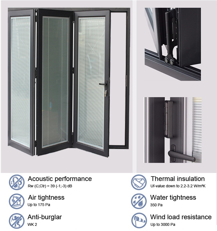 Double French Doors From China Manufacturers Sliding Interior Bifold Accordion Glass Bifold