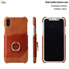 Ring holder Real leather case for iPhone X mobile phone accessories for iPhone 7 plus back cover case with card slots