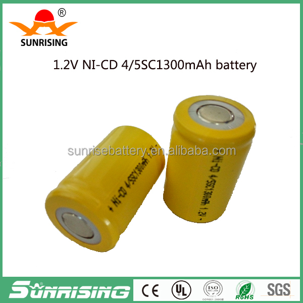 High Temperature rechargeable nicd battery sc 1300mah 1.2v / 4 5sc nicd battery / sc nicd battery solar