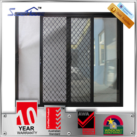 Australia AS2047 standard double tempered glass aluminium sliding door grill design with Australia brand hardware