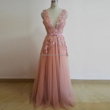 Pink Deep V-neck Tulle Long Prom Dresses 2016 A-line Appliqued Beaded Backless Evening Dresses Long Evening Party Long Dress