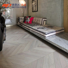 Engineered Prime Chevron Parquet Grey White Washed Oak 500mm x 500mm x 18-4 Lacquered Wood Flooring