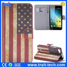 2015 America National Flag Pattern Leather Cover Case for Wiko Lenny 2