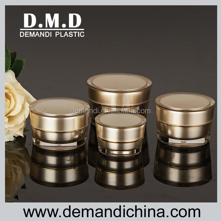 Empty round acrylic cream jar 5g 10g 15g 30g 50g gold colored plastic cosmetic jar