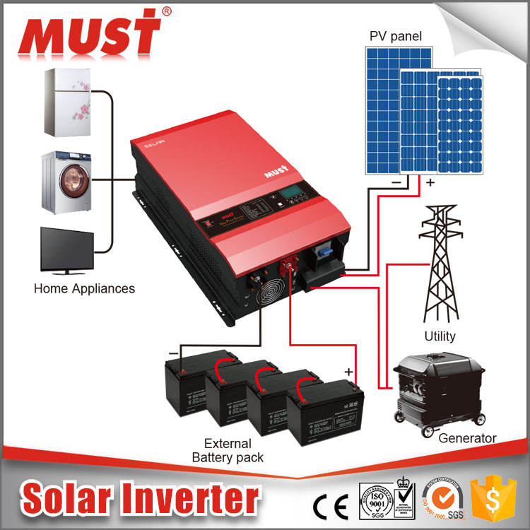 MUST Low frequency pure sine wave off grid solar inverter 5000w 6000w 8kw 10kw 12kw