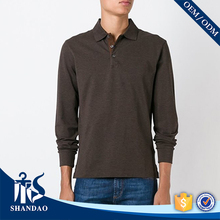 Guangzhou shandao factory hot design long sleeve 180g 65%cotton 35%polyester autumn stylish men's dry fit polo shirt