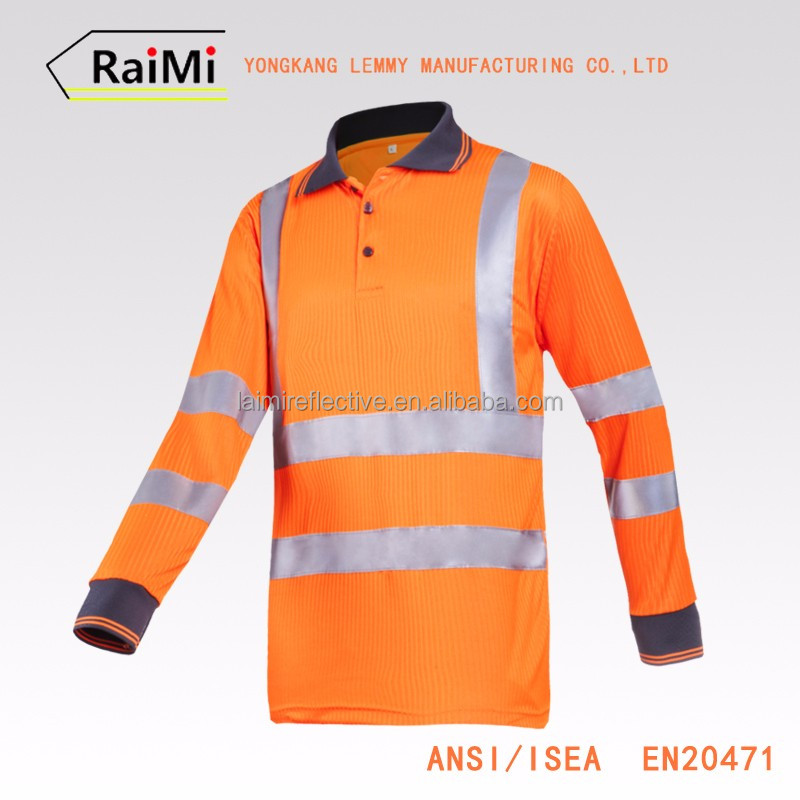 Newest design Guaranteed Quality safety reflective color combination polo shirt