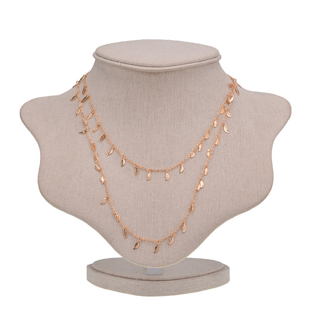 New big brand indian double chain clavicle chain personality leaf necklace lady jewellery
