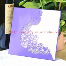 Unique wedding cards for wedding invites! peacock theme purple laser cut wedding invitations