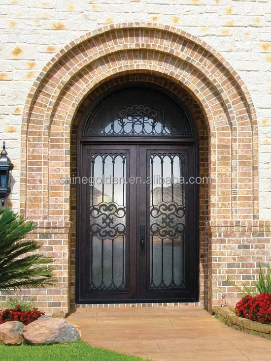 Double Entry Wrought Iron Door Gates European Style Gyd