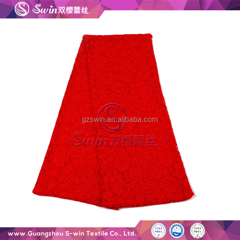 Customized fashion Lady dress Lace Nylon Cotton Knitting Cord Style Guangzhou Lace Fabric