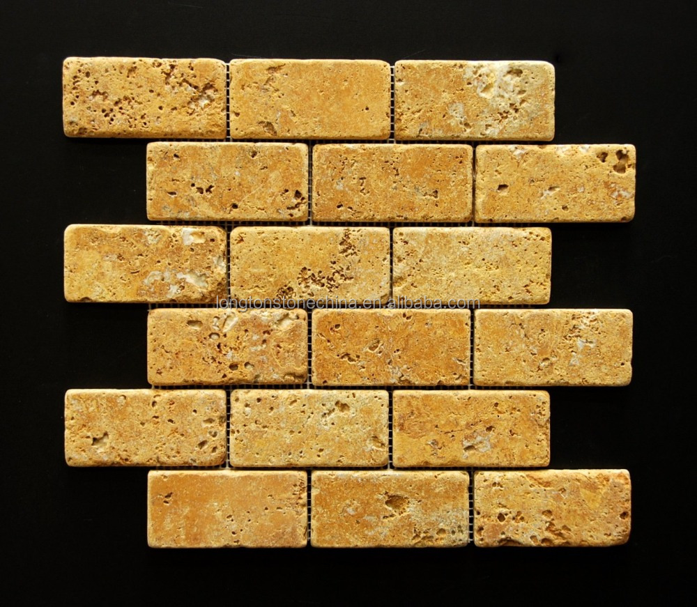 Gold Yellow Travertine Tile Split Face Mosaic For Kitchen Bathroom Backsplash Exterior Use