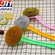 Family kitchen cleaning plastic handle brush with stainless steel scourer