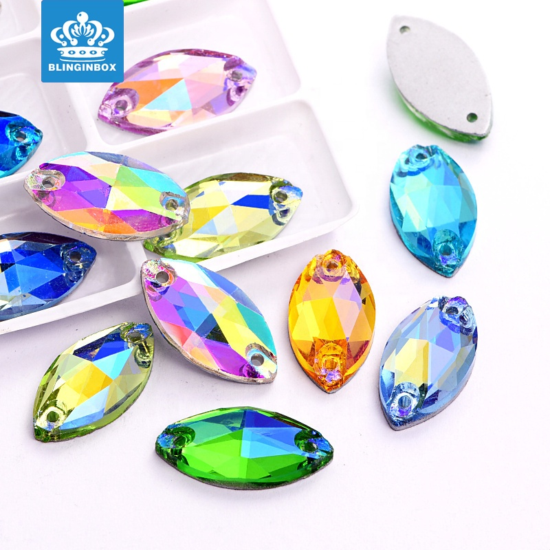 Navette Colorful Glass <strong>Crystal</strong> Sew On Rhinestone For Decoration
