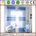 china supplier customized 100% polyester striped blue sheer curtain