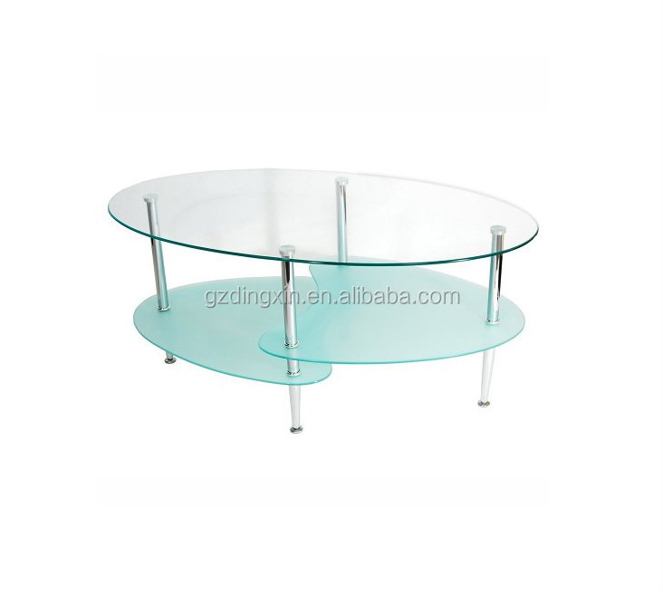 Oval Rotating Coffee Table: Stainless Steel Tube Oval Glass Coffee Table For Sale