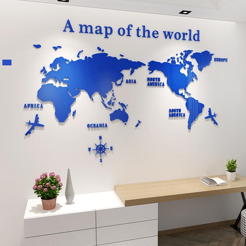 Kids Room Decorative World Map Diy Children S Decorative Acrylic 3d
