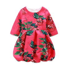 Rose Red Patterns Children Clothes Little Girls Party Dress Kids Ball Gown With Crew Neck